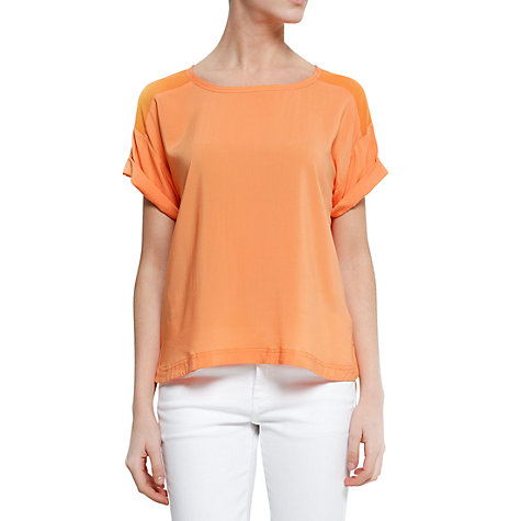 Buy Mango Sheer Panels Blouse, Mandarin Online at johnlewis.com