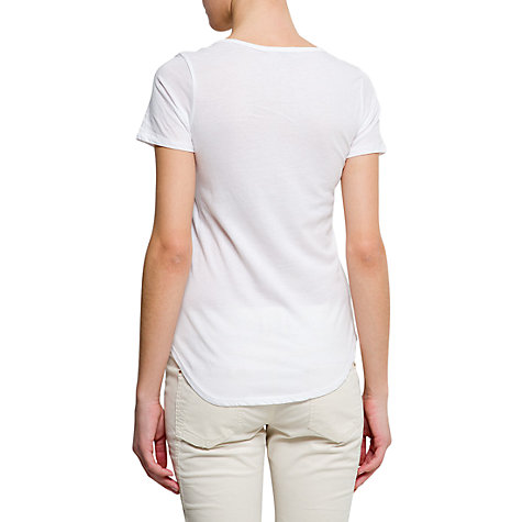 Buy Mango Scoop Neck Cotton T-Shirt, White Online at johnlewis.com