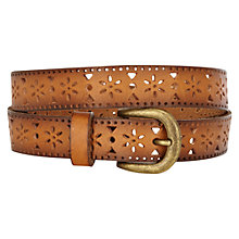 Buy Warehouse Cut-Out Jeans Belt, Tan Online at johnlewis.com