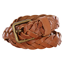 Buy Warehouse Plaited Skinny Belt, Tan Online at johnlewis.com