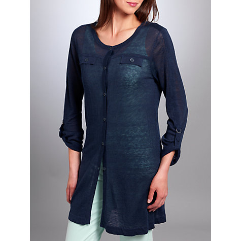 Buy Betty Barclay Linen Knitted Cardigan, Navy Online at johnlewis.com