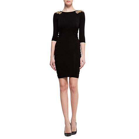 Buy Mango Gathered Side Dress, Black Online at johnlewis.com
