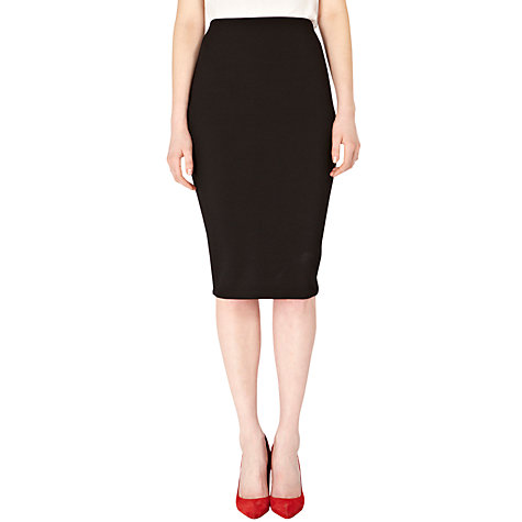Buy Warehouse Zip Texture Pencil Skirt, Black Online at johnlewis.com