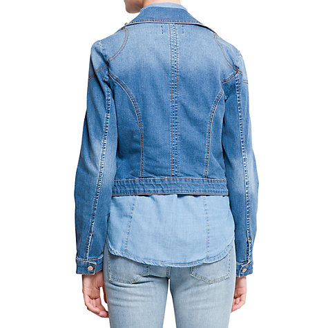 Buy Mango Biker Jacket, Medium Denim Online at johnlewis.com