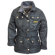 Buy Barbour Girls' Waxed International Jacket, Black Online at johnlewis.com