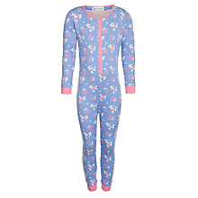 Buy John Lewis Girl Flower Onesie, Blue/Pink Online at johnlewis.com