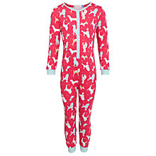 Buy John Lewis Girl Dog Print Onesie, Red Online at johnlewis.com