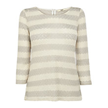 Buy Oasis Crochet 3/4 Sleeve Top, White/Grey Online at johnlewis.com