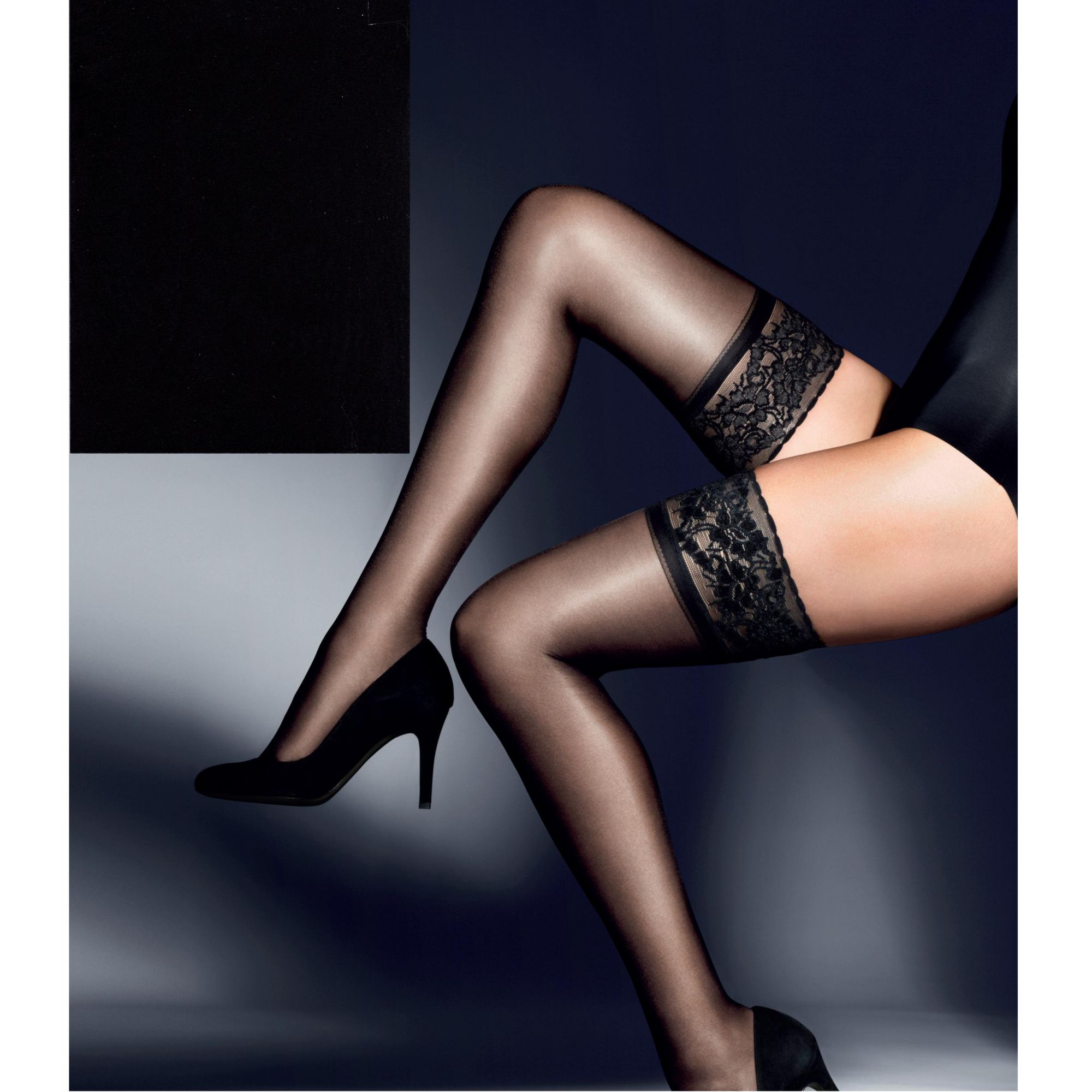 John Lewis 15 Denier Gloss Hold Ups, Black