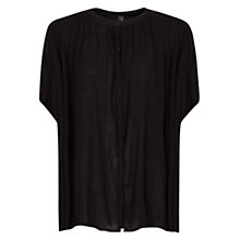 Buy Mango Pleated Oversized Blouse, Black Online at johnlewis.com