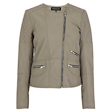 Buy Warehouse Collarless Quilted Jacket, Light Grey Online at johnlewis.com