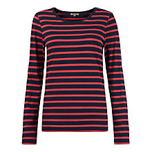 Buy Jigsaw Retro Stripe Jersey Top, Red/Blue Online at johnlewis.com