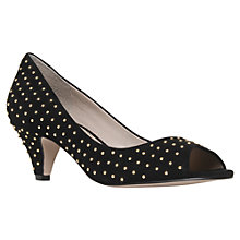 Buy KG by Kurt Geiger Carla Suede Peep-Toe Court Shoes, Black Online at johnlewis.com