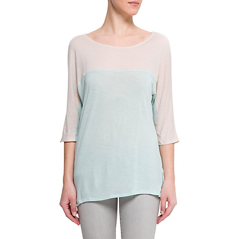 Buy Mango Two-Tone T-Shirt, Water Online at johnlewis.com