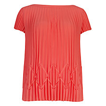 Buy Ted Baker Pleated Slash Neck Top, Coral Online at johnlewis.com