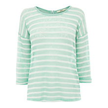 Buy Oasis Striped Zip Back Top, Mint/White Online at johnlewis.com