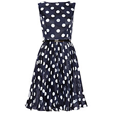 Buy Adrianna Papell Pleated Burn Out Dot Fit and Flare Dress, Navy/White Online at johnlewis.com