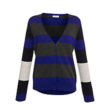 Buy Farhi by Nicole Farhi Merino Wide Striped Cardigan, Ultra/Charcoal Online at johnlewis.com