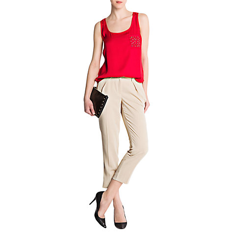 Buy Mango Cropped Suit Trousers, Beige Online at johnlewis.com