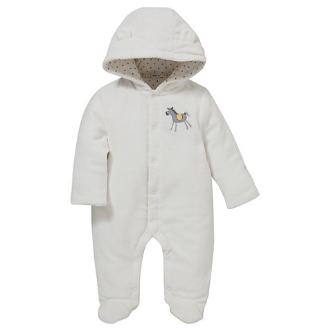 Buy John Lewis Baby Velour Wadded Horse All-In-One, White Online at johnlewis.com