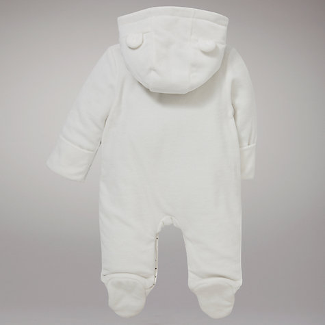 Buy John Lewis Baby Velour Wadded Horse All In One, White Online at johnlewis.com