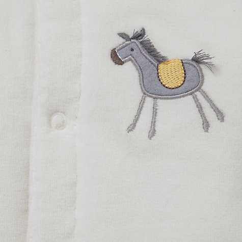 Buy John Lewis Baby Velour Wadded Horse Pramsuit, White Online at johnlewis.com