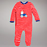 Buy John Lewis Baby Tractor Velour Sleepsuit, Red Online at johnlewis.com