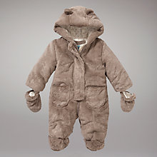 Buy John Lewis Baby Teddy Snowsuit, Brown Online at johnlewis.com
