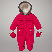 Buy John Lewis Baby Wadded Snowsuit, Berry Online at johnlewis.com