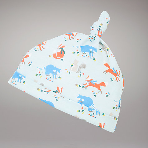 Buy John Lewis Baby Fox Print Sleepsuit and Hat, Blue/Multi Online at johnlewis.com