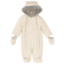 Buy John Lewis Baby Wadded Snowsuit, Off White Online at johnlewis.com