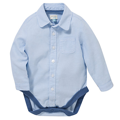 Buy John Lewis Baby Long Sleeve Oxford Bodyshirt, Blue Online at johnlewis.com
