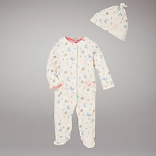 Buy John Lewis Baby Rabbit Print Sleepsuit, Multi Online at johnlewis.com
