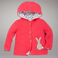 Buy John Lewis Baby Rabbit Hooded Cardigan, Red Online at johnlewis.com