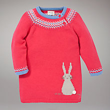 Buy John Lewis Baby Rabbit Knit Dress, Red Online at johnlewis.com