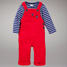 Buy John Lewis Baby Dungaree Set, Red/Navy Online at johnlewis.com