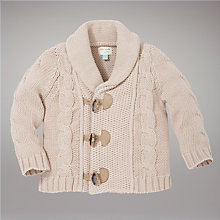 Buy John Lewis Baby Shawl Neck Cardigan, Brown Online at johnlewis.com