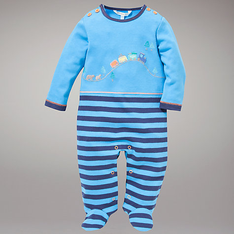 Buy John Lewis Baby Train Scenes Sleepsuit, Blue Online at johnlewis.com