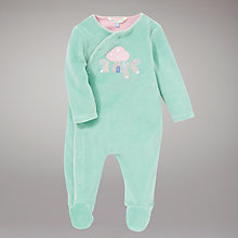 Buy John Lewis Baby Toadstool Sleepsuit, Green Online at johnlewis.com