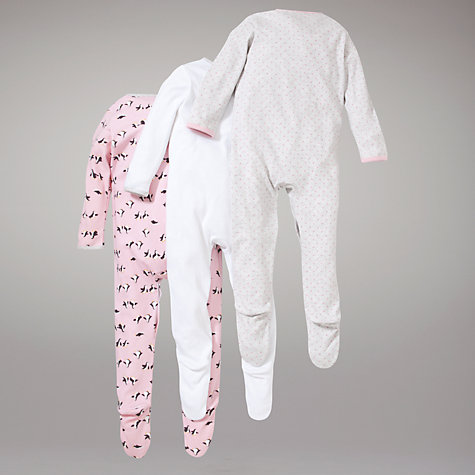 Buy John Lewis Baby Penguin Sleepsuits, Pack of 3, Pink Online at johnlewis.com