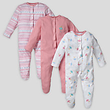 Buy John Lewis Baby Fairy Sleepsuits, Pack of 3, Pink Online at johnlewis.com