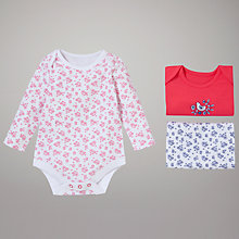 Buy John Lewis Baby Nautical Berry Bodysuit, Pack of 3, Multi Online at johnlewis.com