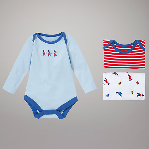 Buy John Lewis Baby Nautical Soldiers Bodysuits, Pack of 3, Blue Online at johnlewis.com