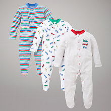 Buy John Lewis Baby Racing Cars Sleepsuits, Pack of 3, Multi Online at johnlewis.com