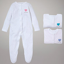 Buy John Lewis Baby Slogan Sleepsuits, Pack of 3, White Online at johnlewis.com