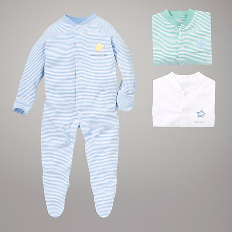 Buy John Lewis Baby Slogan Sleepsuits, Pack of 3, Blue/Green Online at johnlewis.com