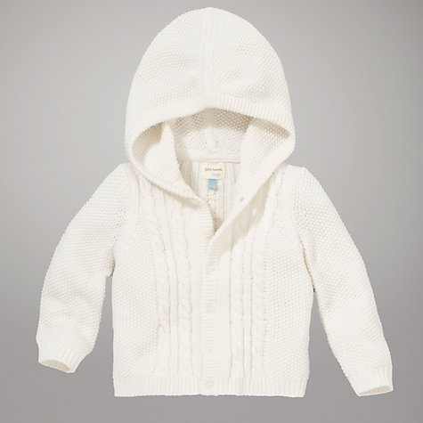Buy John Lewis Baby Cable Knit Cardigan, White Online at johnlewis.com