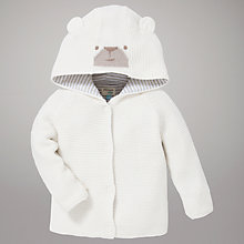 Buy John Lewis Baby Teddy Bear Hooded Cardigan, Cream Online at johnlewis.com
