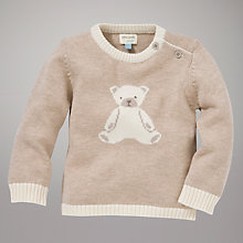Buy John Lewis Baby Knitted Teddy Jumper, Cream Online at johnlewis.com