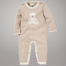 Buy John Lewis Baby Knitted Teddy Romper, Cream Online at johnlewis.com